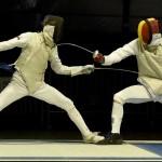 Silviu Roșu cu Kirill Borodachev  in semifinale la CE cadeti floreta masc 29.02.2016 (2)